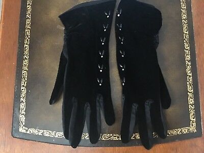Vintage Elegent Evening Gloves / Black with Diamonds