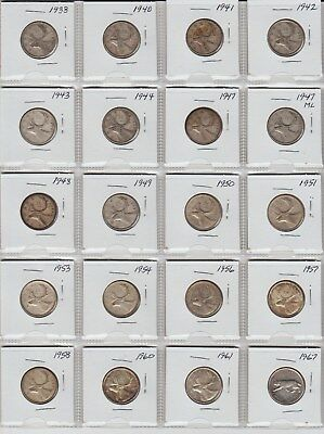 20 Canada silverquarters 1938 to 1967 all different