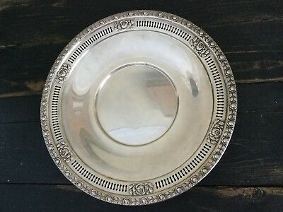 """Vintage Royal Rose Wallace Solid Sterling Silver 10"""" Plate Antique Metalware"""