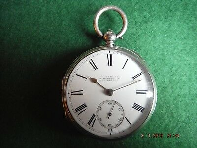 1886 H.samuel Manchester, Open Faced Key Wind Antique Silver Lever Pocket Watch