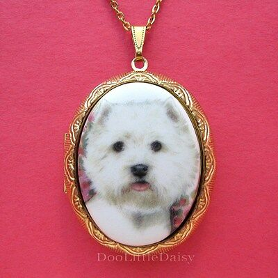 Porcelain WEST HIGHLAND TERRIER WESTIE DOG CAMEO Costume Jewelry Locket Necklace
