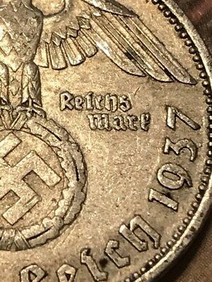 the rare '37-A SILVER EAGLE Germany WW2 Coin Nazi Army World War 2 Old Antique