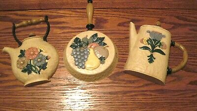 Home Interior Vintage  set of 3 kitchen wall plaques