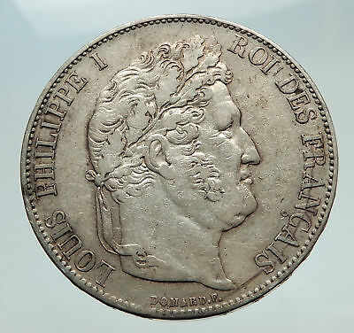 1845 FRANCE King Louis Philippe I French Antique Silver 5 Francs Coin i74722