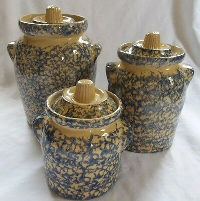 Set 3 Robinson Ransbottom Roseville Ohio Blue Sponge Canisters with Lids 6 pcs