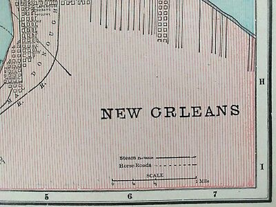 """Vintage 1900 NEW ORLEANS LOUISIANA Map 11""""x14"""" Old Antique SLIDELL METAIRIE MAPZ"""