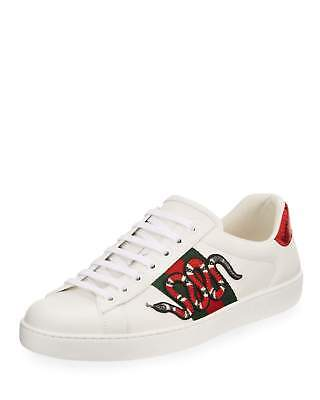 539e3a0538e AUTHENTIC MENS WHITE Leather Gucci Snake Ace Sneakers Shoes-8G ...
