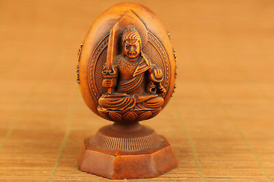 blessing Chinese old boxwood hand carved buddha statue Collectable home decorati