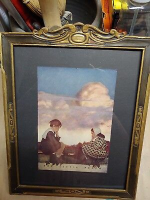 Maxfield Parrish 1904 framed bookplate The Little Peach