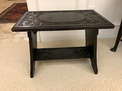 Antique English Jacobean Dark Oak Highly Carved Large Joint* Stool Pub Bench