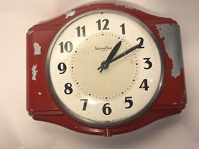 Vintage National Time Red Chippy Wall Clock
