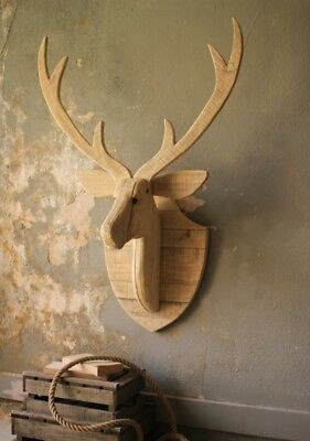 "Large Recycled Wood Deer Head Mount Wall Hanging Rustic Cabin Lodge Antlers 39""H"