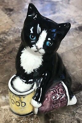 Royal Doulton Miniature Black & White Cat With Food Cans