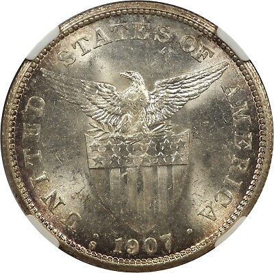 US Philippines 1907-S Peso NGC MS-62 Silver