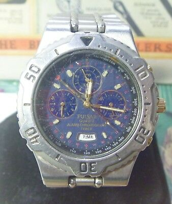 2000s Pulsar 41mm N945-6A10 BLUE Dial Multi Function STEEL Chronograph Ufix W@W