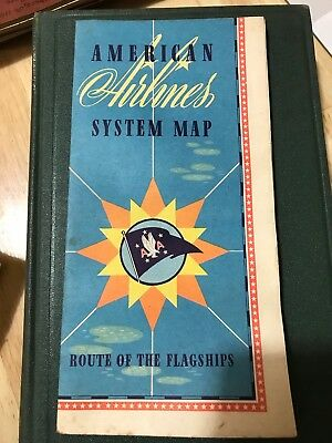 Vintage American Airlines System Route Map 1940s