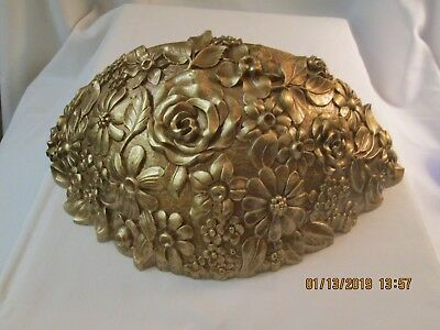 """Vtg. Syroco Gold Flower Planter 16"""" Wide, 9"""" Deep U.s.a. Large & Beautiful."""