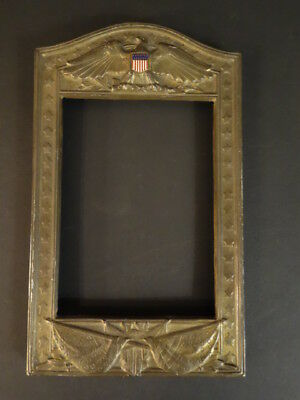 Antique Brass Picture Frame With Eagle Flags And Enameled Shield Signed