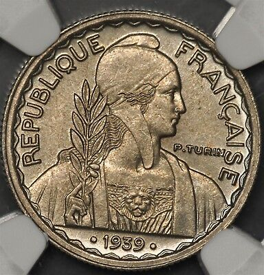 .1939. Ngc Ms64 French Indo-China 10 Cents Copper-Nickel With Dots Var. Km-21.2