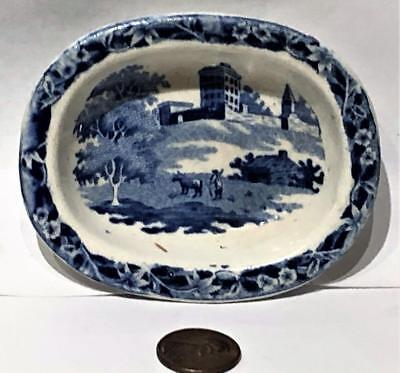 "Antique Staffordshire Blue Transfer Toy Bowl,  ""Monastery"" Hackwood, c. 1835"