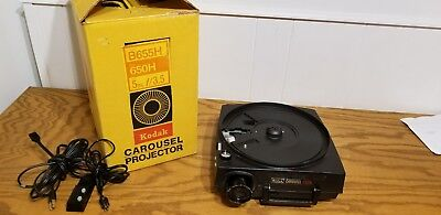 Kodak Carousel 650H Slide Projector with remote, lens,  parts