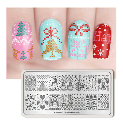 BORN PRETTY Rectangle Nail Stamping Plate Christmas Nail Image Plate Manicure
