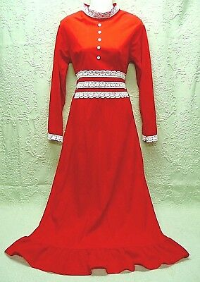 """60's Vintage """"sears"""" Red Brushed-Knit Maxi Hostess Lounge Dress--White Lace Trim"""