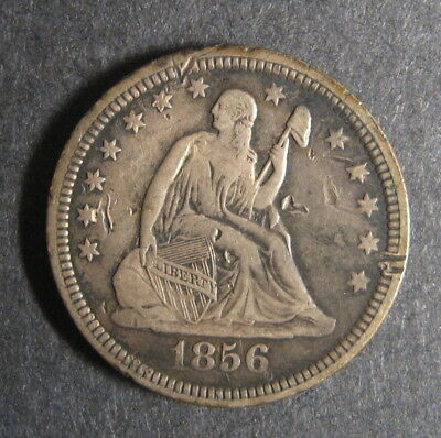1856 Liberty Seated Quarter Dollar, 25 Cents, VG-F, Very Good - Fine
