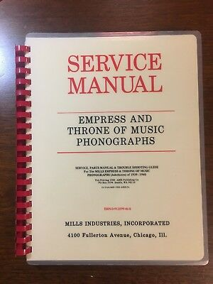 Service Manual for Mills Empress & Throne Of Music Jukeboxes