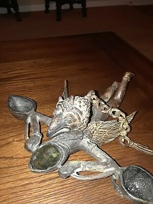 Interesting Bronze Hanging Oil Temple Lamp Of Garuda (Rare)