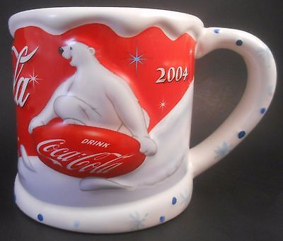Houston Harvest Gifts 2004 Coca-Cola Christmas Polar Bear Large Ceramic Mug Coke