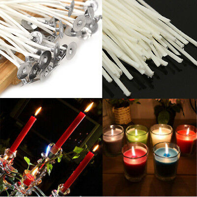 50Pcs Candle Wicks 20cm Cotton Core Pre Waxed With Sustainers For Candle Making