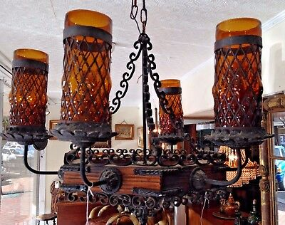 Vintage Spanish Revival Gothic Chandelier Wrought Iron / Wood with Amber Shades