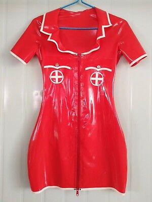 Latex 100% Rubber Dress Cosplay Nurse Red with White  Sexy Hip Skirt Size S-XXL