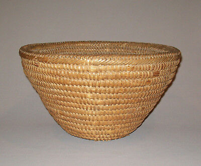 Old Antique 19th Century Rye Straw Basket Bowl Outstanding Wrapped Rim Very Nice