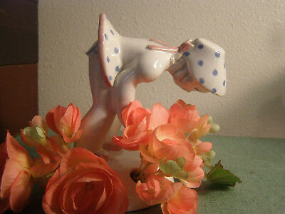 Vintage Pottery Girl Bending over to Smell Flowers Flower Frog ... UNIQUE!