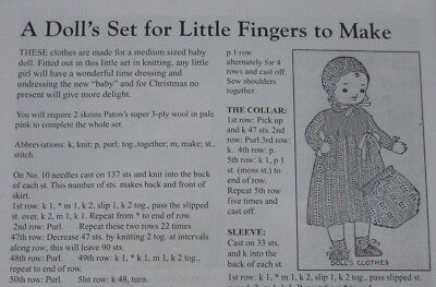 Medium size Baby Doll sweet outfit - knitting pattern