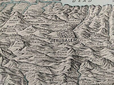 "Vintage 1902 HOLY LAND Map 22""x14"" Old Antique JERUSALEM ISRAEL BETHLEHEM MAPZ"
