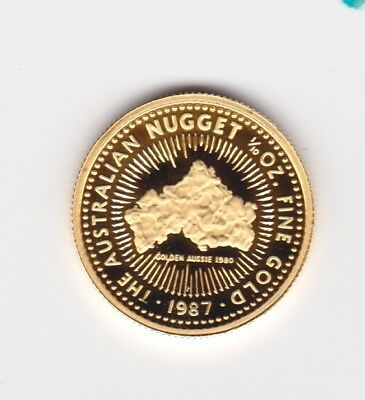 1987 AUSTRALIAN NUGGET SERIES 1/10 OZ .9999 pure PROOF GOLD $15 COIN in capsule