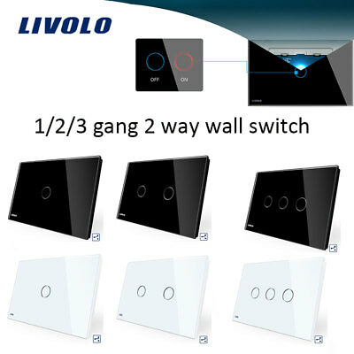 LIVOLO AU Standard Wall Touch Switch 1/2/3 Gang 2 Way Touch LED Light Switch