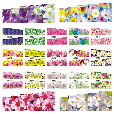 1 Sheet Multicolor Flower Nail Art Water Transfer Decal Sticker DIY Decor Newly