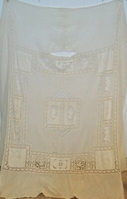 Antique Cotton Gauze Bed Spread w Pillow Bolster Twin Size / Lace & Embroidery