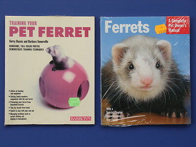 2 Different Brand New Pet Ferret Books Care Feeding Breeding Facts Handling