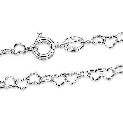 "4.0mm Italy 925 Sterling Silver Necklace Heart Link Chain 16"" INCH"