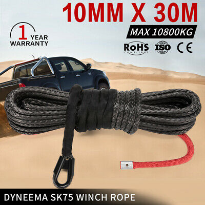 10MM x 30M Black Dyneema Winch Rope 4WD SK75 Synthetic Tow Recovery Cable