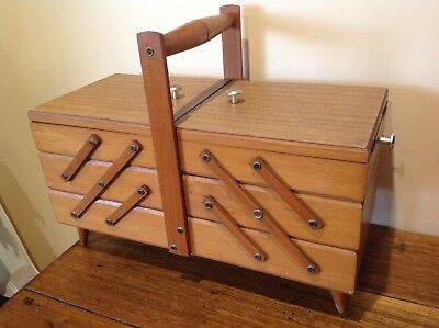 Large Vintage Retro Wooden Sewing Box