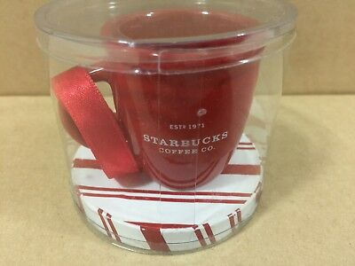 Rare Starbucks Christmas Ornament Mini Abbey Red Mug New & Sealed