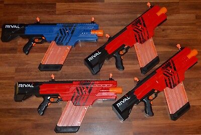 Lot of 4 Rival Nerf Blasters MXVI-4000 + Clips - 3 Red and 1 Blue - USED