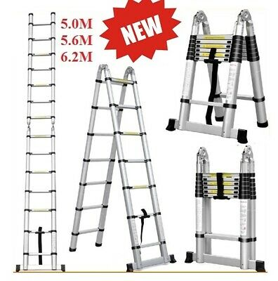 5M 5.6M 6.2M Telescopic Aluminium Ladder Extension Extendable Step Alloy New