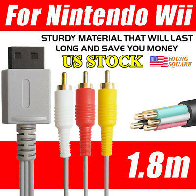 SCART To 3 RCA Phono Lead AV Cable Switch For Nintendo Wii /Wii U 1.8m TV NEW
